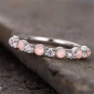 Silver Plated Pink Fire Opalite Diamond Ring